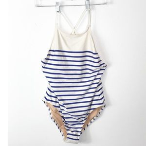 NWT J. Crew Swimsuit One PIece Striped Lined 12